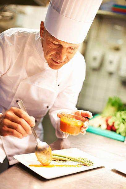 Chef's professional touch stock photo