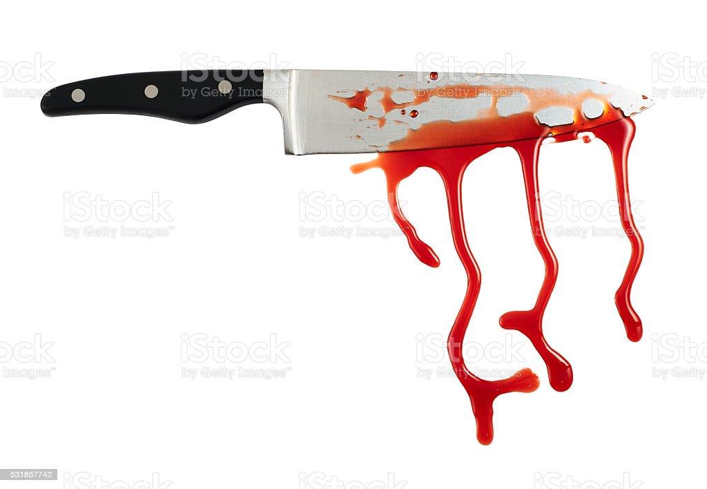 Chef faca de aço com manchas de sangue - foto de acervo