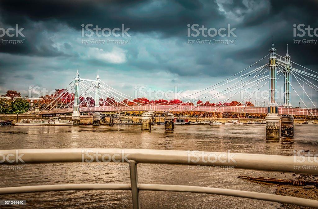 Chelsea Bridge in autumn stock photo