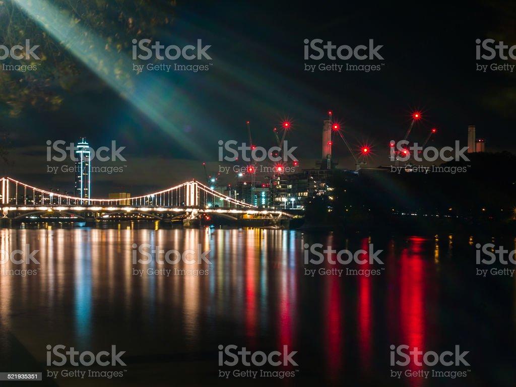 Chelsea Bridge seen from Chelsea Embankment, London, United Kingdom stock photo