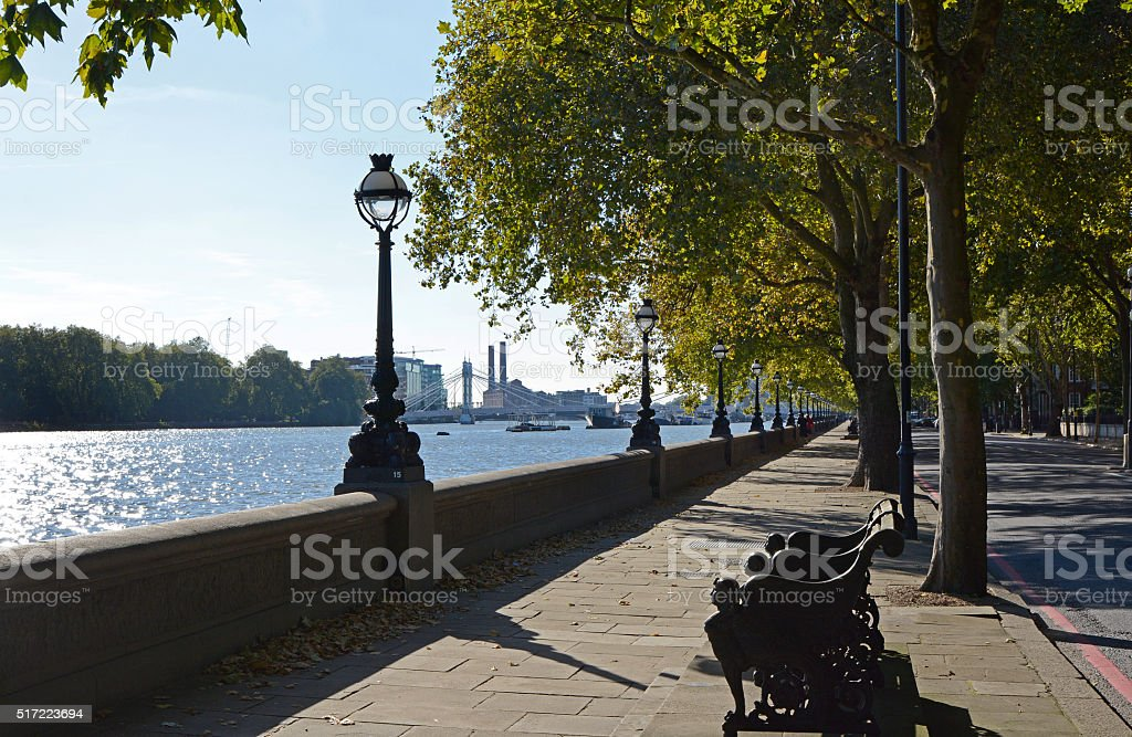 Chelsea Embankment in London, England stock photo