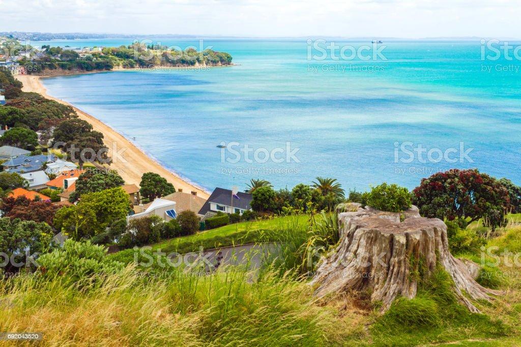 Cheltenham Beach View from North Head Auckland New Zealand stock photo