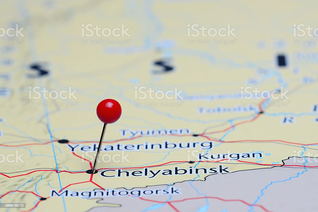 Chelyabinsk Pinned On A Map Of Asia Stock Photo More Pictures of