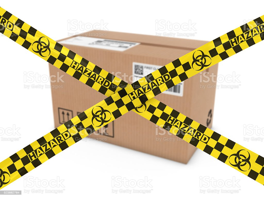 Chemical Attack Concept - Suspicious Parcel behind Biohazard Tape Cross stock photo