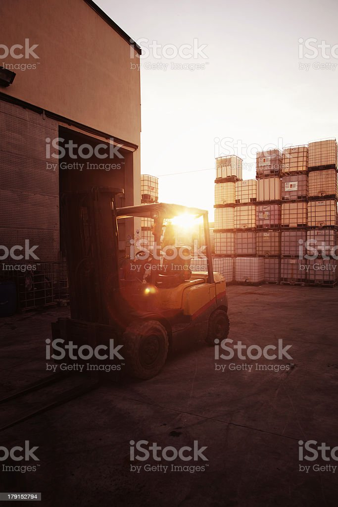 Chemical barrels and fork lift royalty-free stock photo