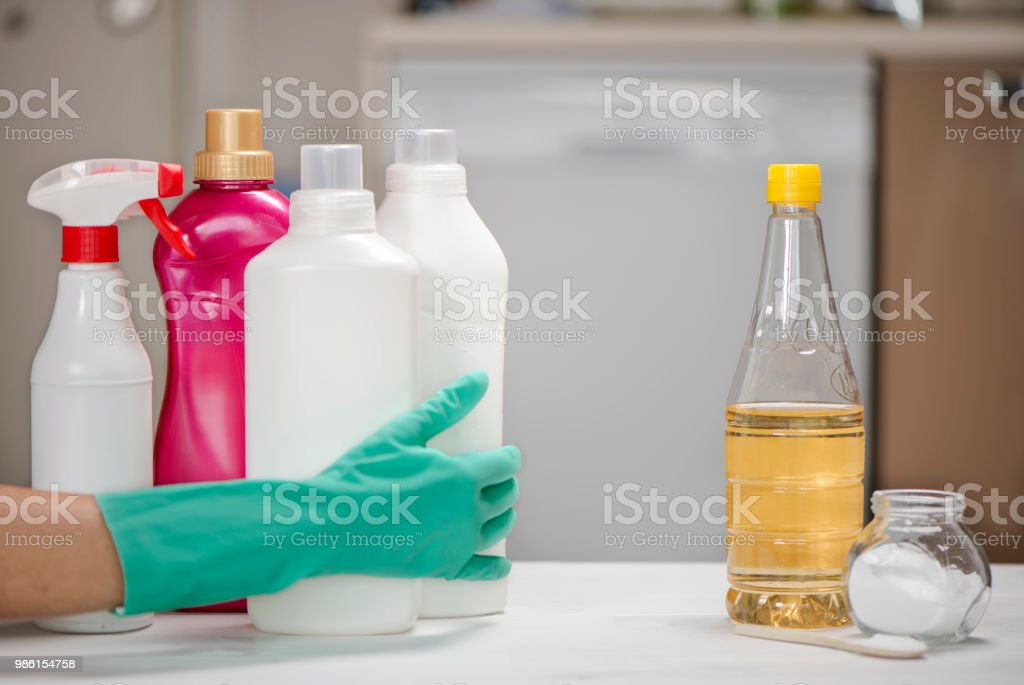 Chemical Cleaning Vs Natural Cleaning stock photo