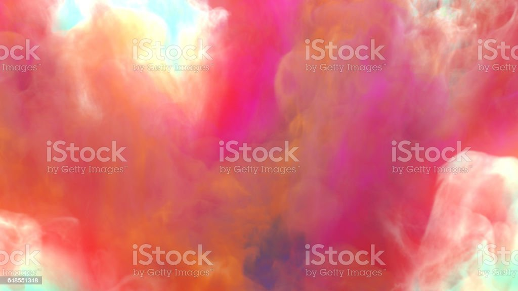 Chemical cloud of colored smoke 3d rendering stock photo