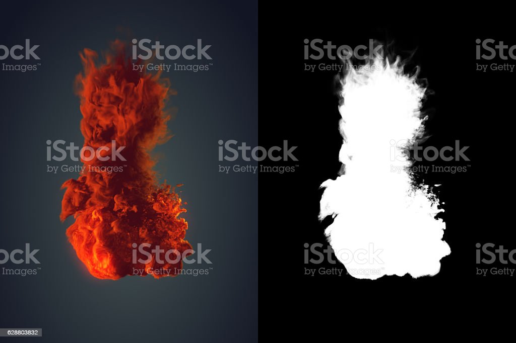 Chemical cloud of orange smoke mixing on black background 3d stock photo