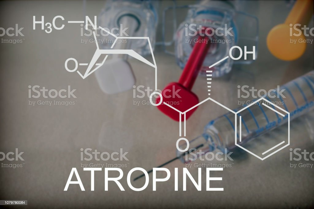 Chemical composition of atropine, conceptual image stock photo