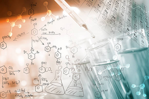 Chemical concept researcher dropping the clear reagent into test tube with periodic table and chemical equations background, for reaction testing in chemical laboratory. chemical reaction stock pictures, royalty-free photos & images