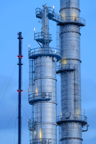 Chemical distillation Tower, Port of Rotterdam stock photo