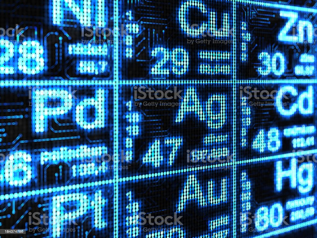 Chemical element stock photo