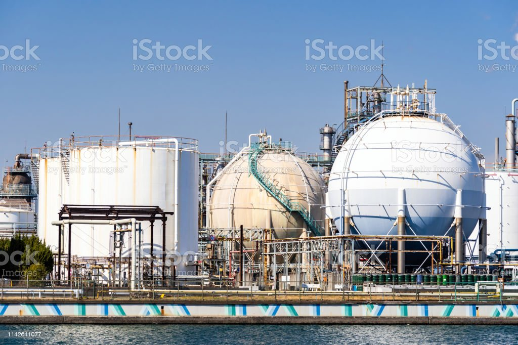 Chemical Factory plant with gas storage and structure of pipeline...