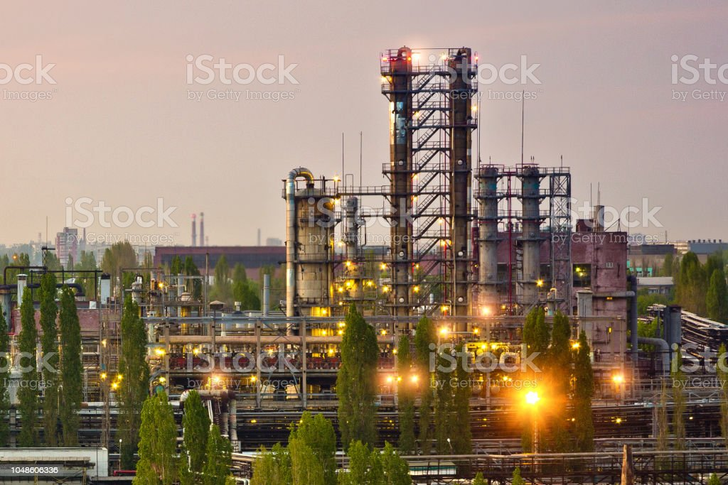 Chemical factory. Rectification towers. Gas separation unit.