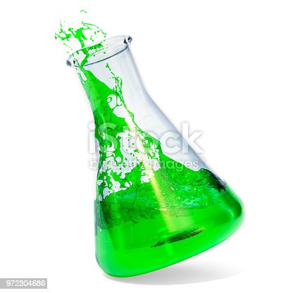istock Chemical flask with green liquid and splash, 3D rendering isolated on white background 972304686