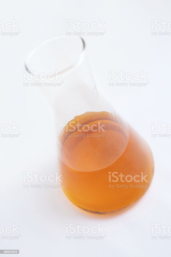 chemical flask with reagent royalty-free stock photo