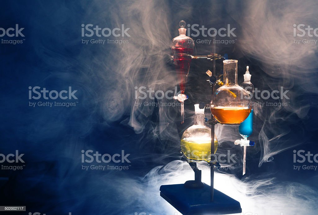 chemical flasks and test tubes stock photo