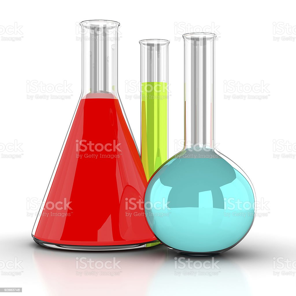 chemical flasks with reagents royalty-free stock photo