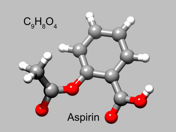 Chemical formula and structure of acetylsalicylic acid or aspirin, a common anti-inflammatory drug 3D ball-and-stick model of the common medication, grey background acetylsalicylic stock pictures, royalty-free photos & images
