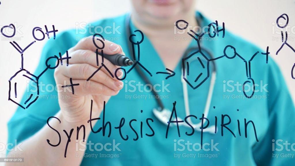 Chemical formula Aspirin. stock photo