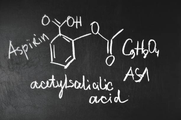 chemical formula aspirin. - cyclic stock pictures, royalty-free photos & images