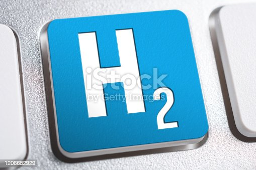 H2 Chemical Formula For Hydrogen On Keyboard Button, Future Energy Concept