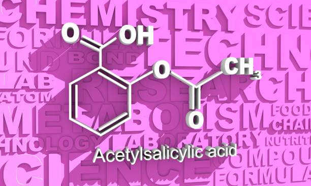 Chemical formula of acetylsalicylic acid Structural chemical formula of acetylsalicylic acid. Aspirin molecule 3D rendering. acetylsalicylic stock pictures, royalty-free photos & images