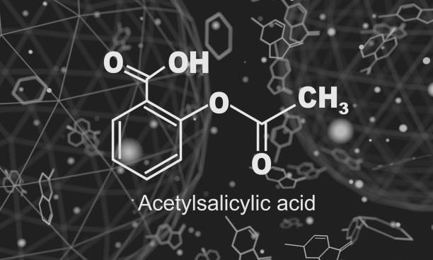 Chemical formula of acetylsalicylic acid Structural chemical formula of acetylsalicylic acid. Aspirin molecule. Lines and dots connected background. 3D rendering acetylsalicylic stock pictures, royalty-free photos & images