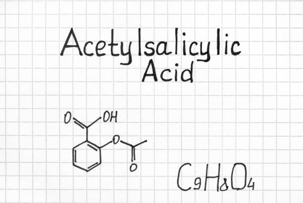 Chemical formula of Acetylsalicylic Acid. Chemical formula of Acetylsalicylic Acid. Close-up. acetylsalicylic stock pictures, royalty-free photos & images