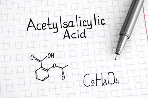 Chemical formula of Acetylsalicylic Acid with pen. Chemical formula of Acetylsalicylic Acid with pen. Closeup. acetylsalicylic stock pictures, royalty-free photos & images