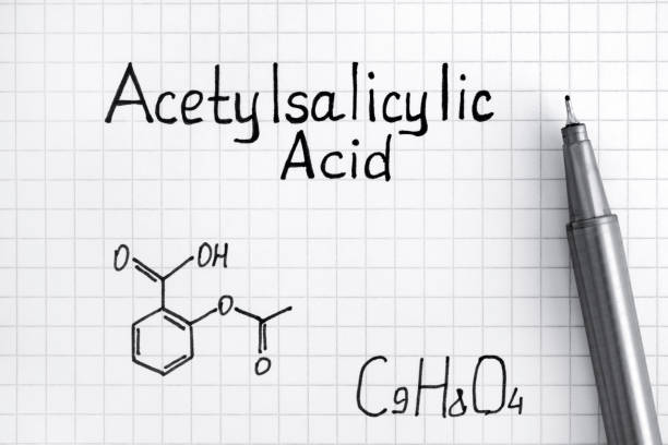 Chemical formula of Acetylsalicylic Acid with pen. Chemical formula of Acetylsalicylic Acid with pen. Close-up. acetylsalicylic stock pictures, royalty-free photos & images