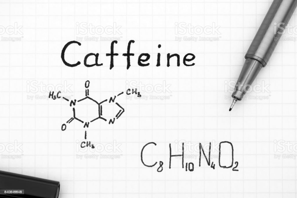Chemical Formula Of Caffeine With Black Pen Stock Photo More