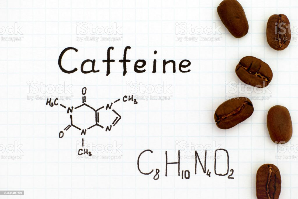 Chemical Formula Of Caffeine With Coffee Beans Stock Photo More