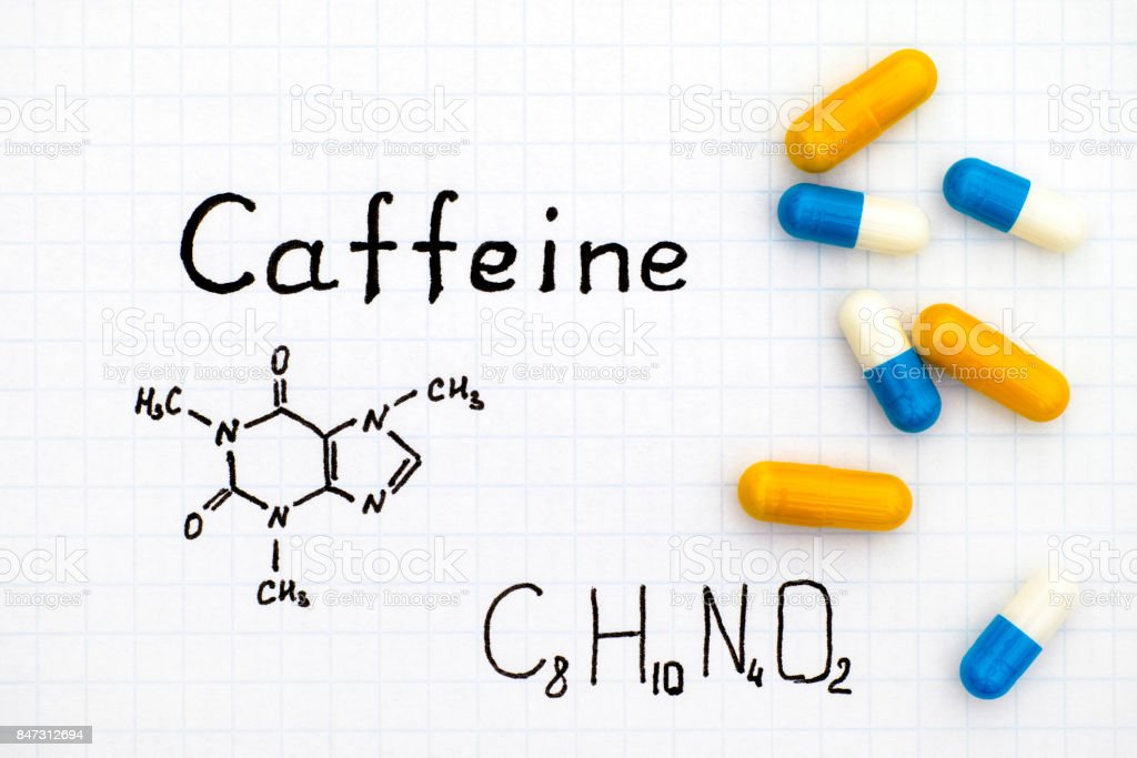 Chemical Formula Of Caffeine With Some Pills Stock Photo More