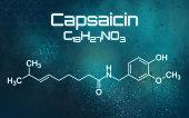 Chemical formula of Capsaicin on a futuristic background