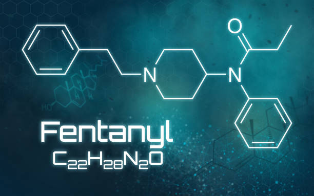 Chemical formula of Fentanyl on a futuristic background Chemical formula of Fentanyl on a futuristic background analgesia stock pictures, royalty-free photos & images
