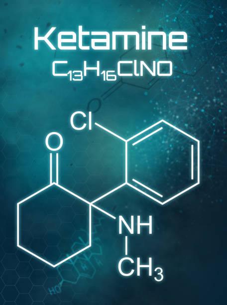 chemische formule van ketamine op een futuristische achtergrond - ketamine stockfoto's en -beelden