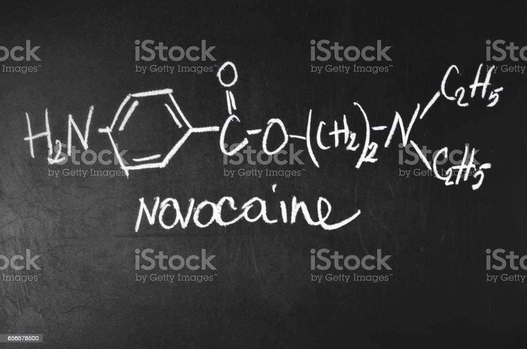 Chemical formula of Novocain. stock photo