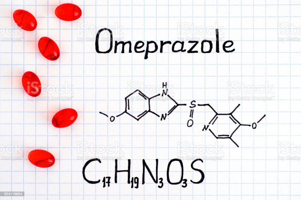 Chemical Formula Of Omeprazole With Red Pills Stock Photo More