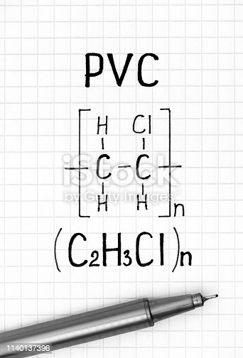 1168035793 istock photo Chemical formula of PVC with black pen. 1140137396