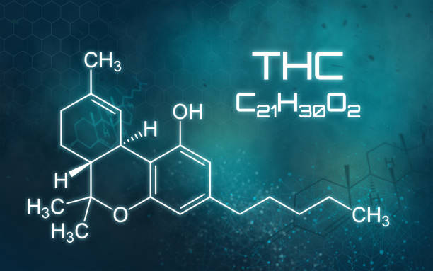 Chemical formula of THC on a futuristic background Chemical formula of THC on a futuristic background thc stock pictures, royalty-free photos & images