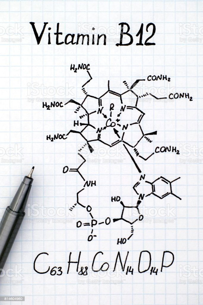 Chemical formula of Vitamin B12 with black pen. stock photo