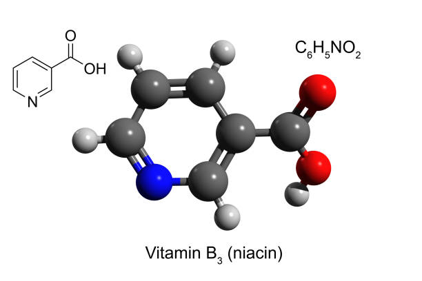 Chemical formula, structural formula and 3D ball-and-stick model of vitamin B3 (niacin), white background stock photo