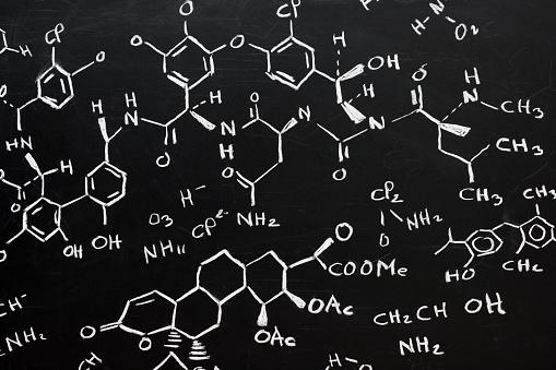 Chemical formula written stylishly on a black background