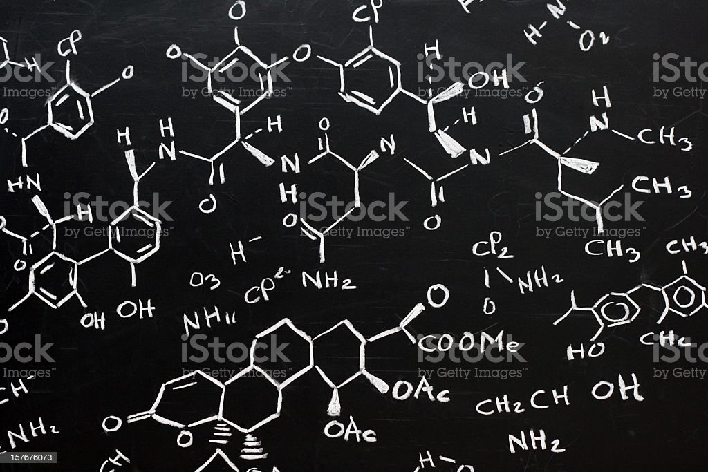 Chemical formula written stylishly on a black background stock photo