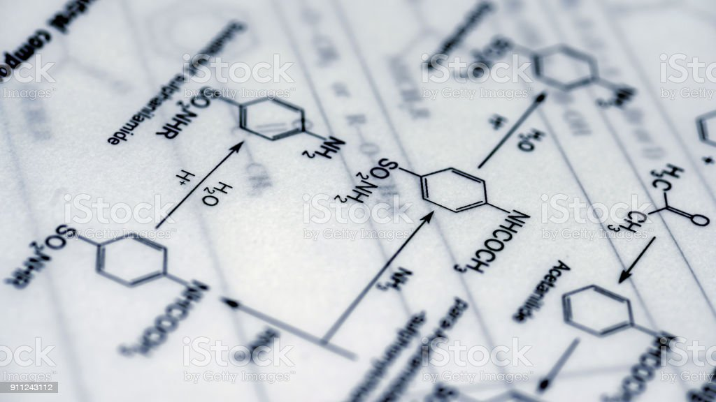 Chemical Formulas Medical Experiment stock photo