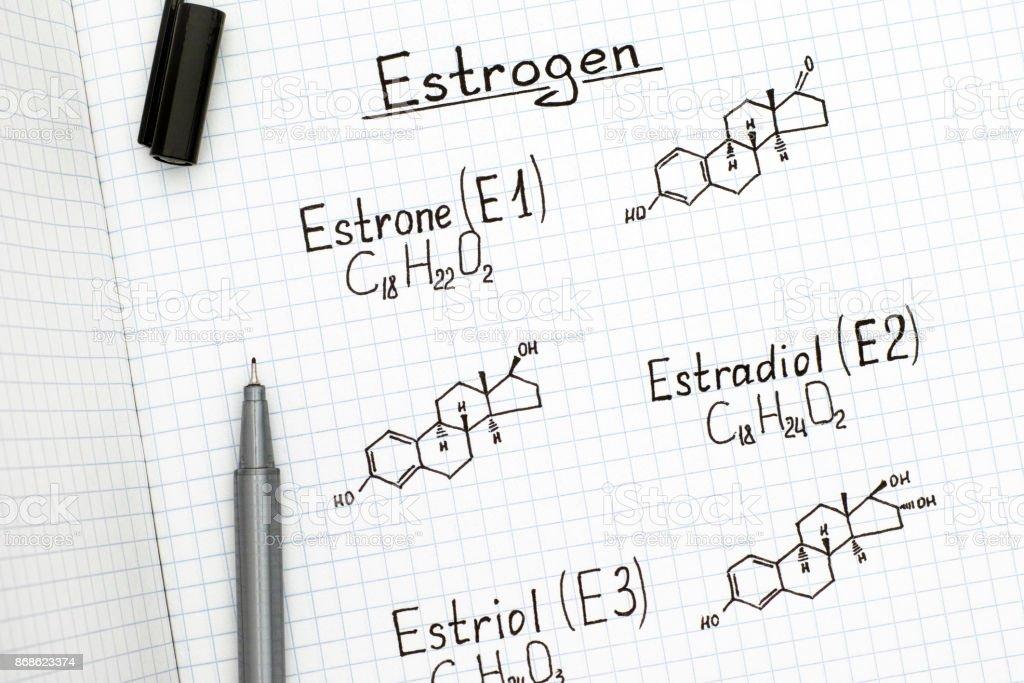 Fórmulas químicas de origen natural estrógenos - estrona (E1), estradiol (E2), estriol (E3) con lápiz negro. - foto de stock