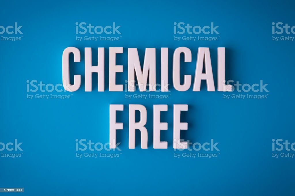 Chemical Free lettering stock photo
