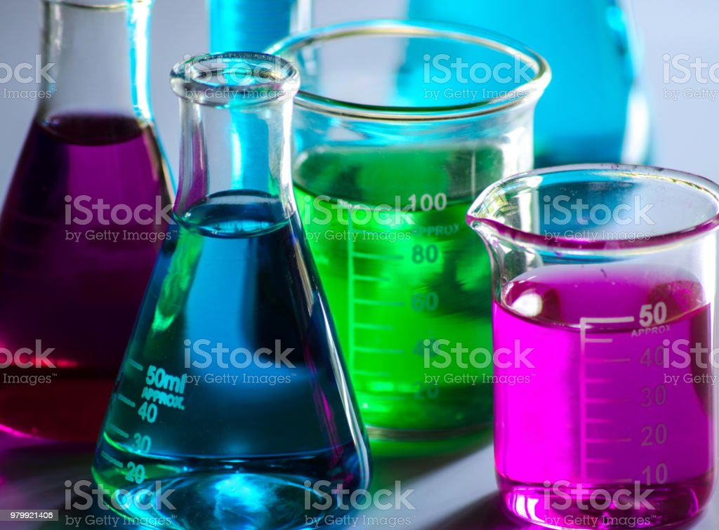 Chemical glass tools in laboratory stock photo
