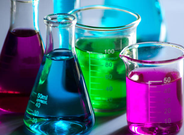chemical glass tools in laboratory - beaker stock photos and pictures